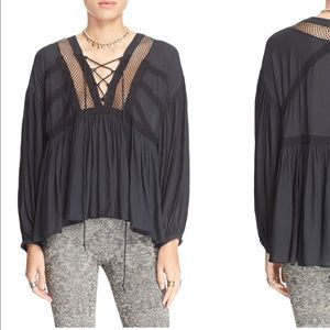 Free People Tops - Free People Don't Let It Go Peasant Top Black NWT